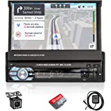 Hikity Single DIN Car Stereo 7 Inch Flip-Out Touch Screen in-Dash with Bluetooth AUX/USB/TF Car FM Radio Receiver Support GPS