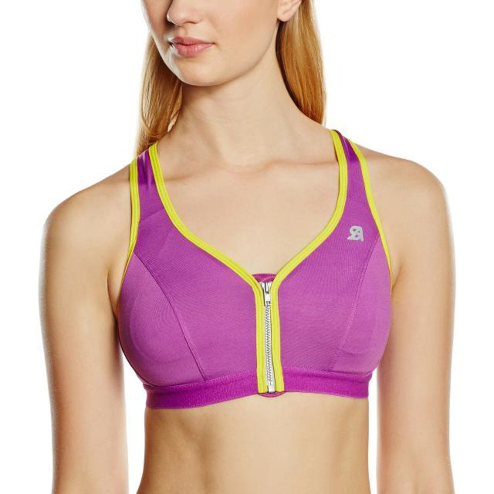 Purple Yellow 32B Shock Absorber Women's Active Zipped Plunge Sports Bra