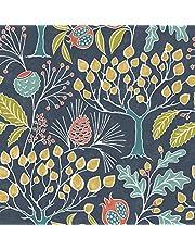 NuWallpaper NU3038 Groovy Garden Navy Peel & Stick Wallpaper, Multicolor