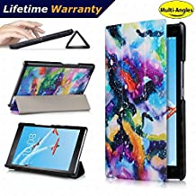 Lenovo Tab 4 8 Case(2017 Release) - DHZ Multi-Viewing Ultra Lightweight Smart Cover Slim Tri-fold Stand Folio Leather Case for Lenovo Tab4 8 inch tablet(2017 version Only),Colorful Starry Sky