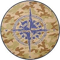 Heritage Kids Round Compass Navigation Accent Rug, 20 x 20, Camo