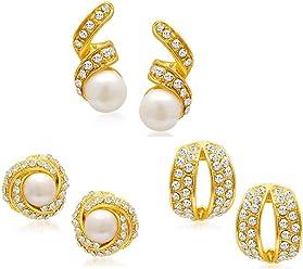 Sukkhi Stud Earrings for Women (Golden) (EarringCombo01)