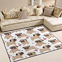 "ALAZA Cartoon Love Heart Pug Puppy Dog Area Rug Rugs for Living Room Bedroom 5'3""x4'"