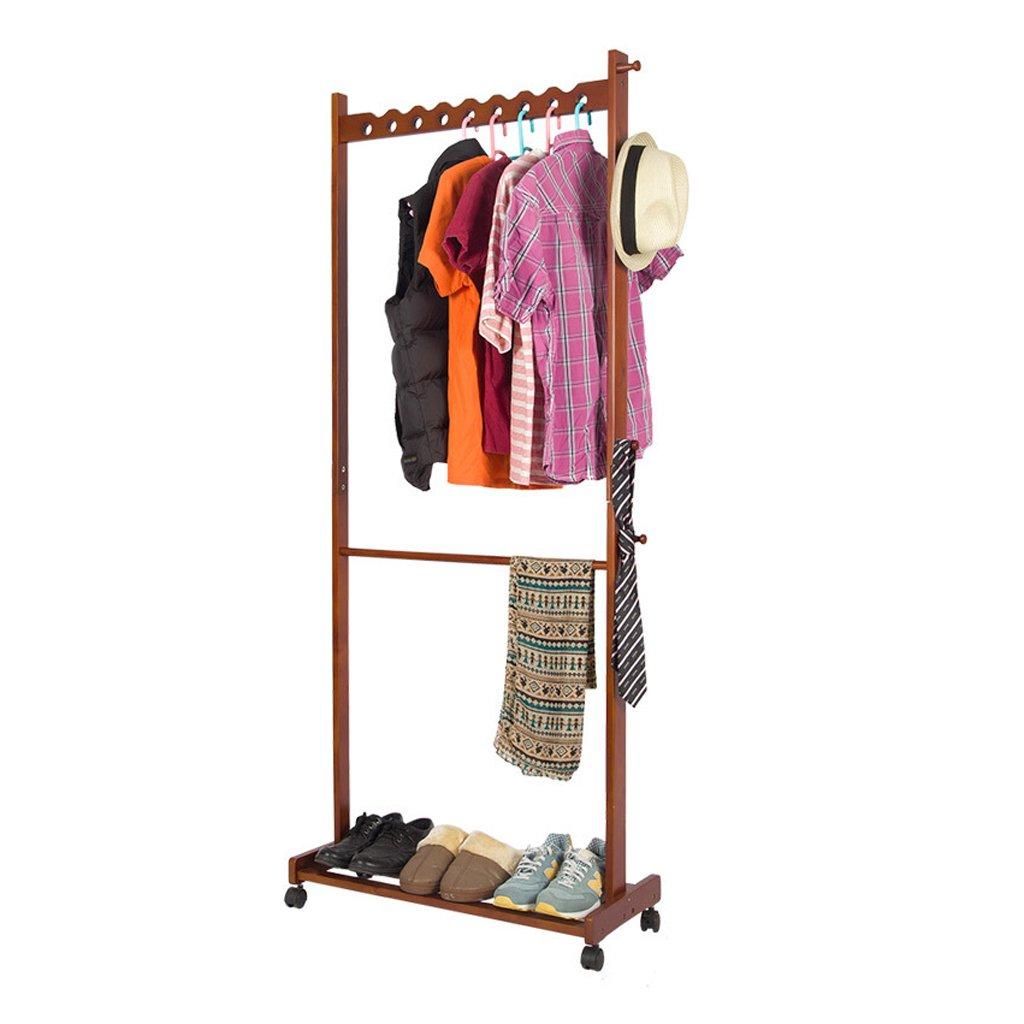 Peach color Peaceip Solid Wood Floor Coat Rack Interior Fashion Creative Clothes Rack Bedroom Hallway Storage Simple Racks (color   White)
