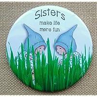 "Pocket, Purse Mirror: 3.5"": SISTERS Make Life More Fun, Cute Gnome Girls in Grass, From Original Art"