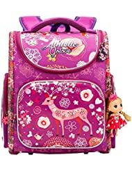 Golovle Girls School Bag For Elementary Cartoon Large Capacity Backpack With Dolls