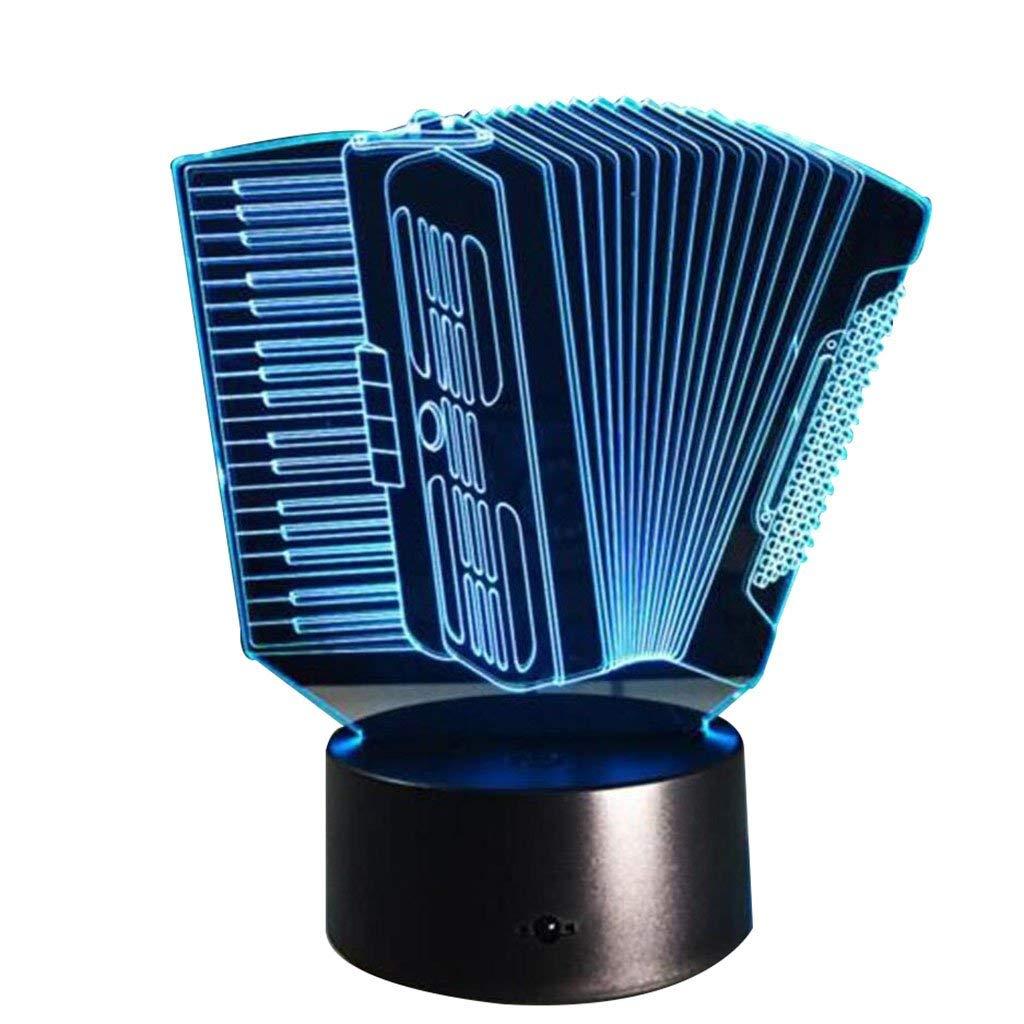 Eeayyygch Akkordeon 3D Licht Bunte Touch LED Licht Kreative Geschenk Nachtlicht Personalisierte Nachtlicht
