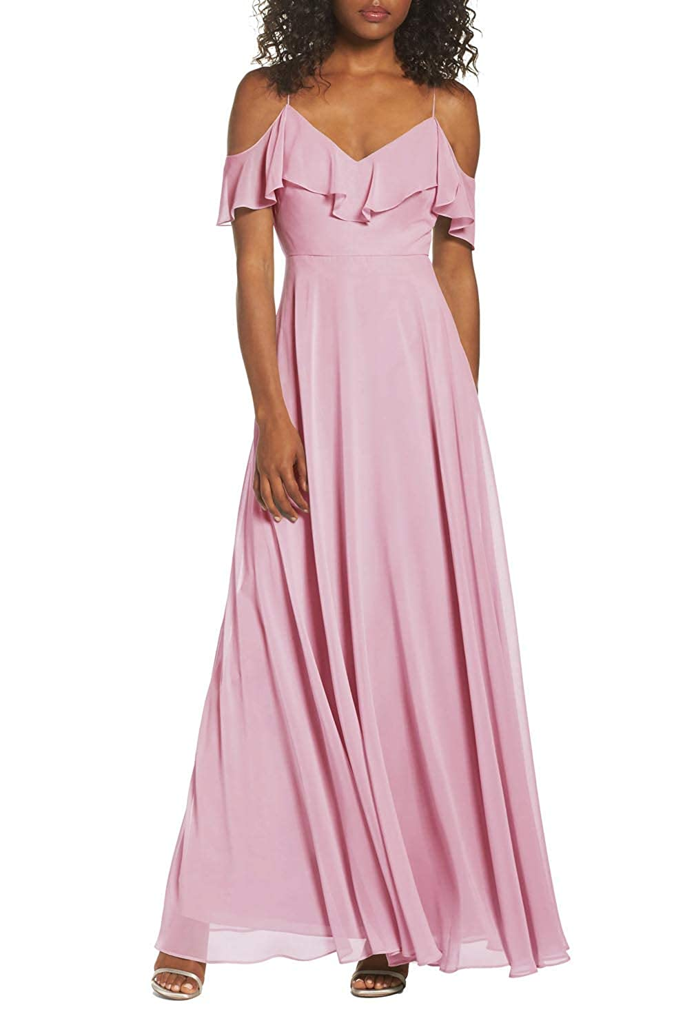 Fairy Tale FeiYueXinXing Women's V Neck Cold Shoulder Prom Gown Long Bridesmaid Dresses Evening Skirt