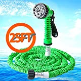 Expandalble Garden Hose Water Pipe with 7 Professional Modes Spray Gun | Natural Latex Triple Layer Magic Stretch Hosepipe for gardening, recreational vehicles, pools etc (25FT, GREEN)