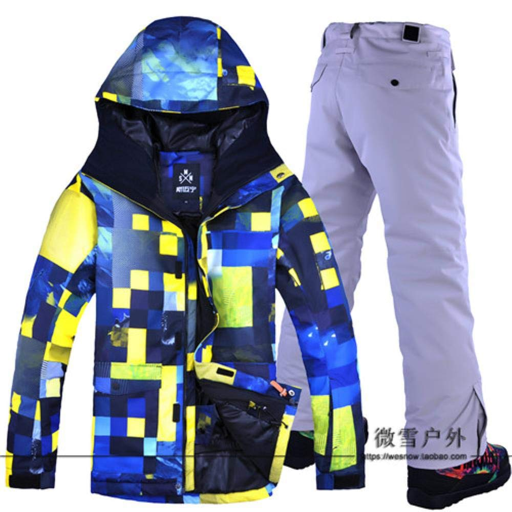 Farbe 4 S JJZZ Skibekleidung für Herren Warme Herren Skijacke Hose Snowboard Bekleidung Hose Winddicht Wasserdicht Skifahren Winteranzug Herren Outdoor Sportbekleidung