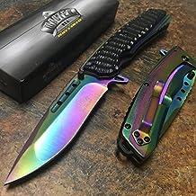 MASTER USA Spring Assited Ballistic Black Nylon Fibe plus Rainbow Stainless Steel Handle Rainbow Pocket Knife