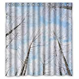 Home-Art Decorative Fabric Bathroom Shower Curtain With Rings ,Glam White Snow Forest Light Blue Sky