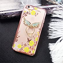 Galaxy Note 5 Case,Secret Garden Butterfly Floral Bling Swarovski Rhinestone Diamond Angel Wing Shape 360 Degree Rotating Ring Kickstand Holder Case for Samsung Galaxy Note 5(Rose Gold-Yellow Flower)