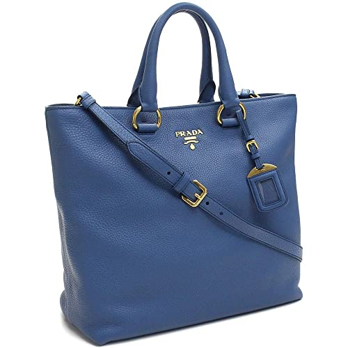 7b02aabed31b ... coupon prada vit vitello daino cobalto blue pebbled leather shopping  tote handbag with shoulder strap bn2865