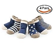 Echodo Unisex Baby Socks Newborn Cotton Socks for Kids 4 Pairs (0-6 Months)