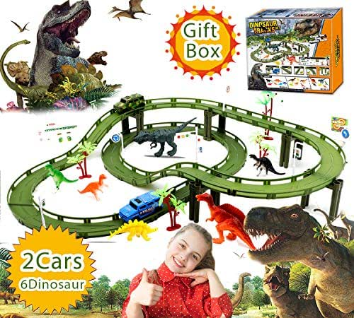 Kids Dinosaur Toys Car Race Track - Educational Kids Toys for 3 4 5 6 7 8+ Years Old Boys Girls Train Tracks Toys 47pcs with 2 Electric Jeep & 6 Dinosaurs Christmas & Birthday Funny Gifts Party Favor