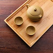 "Awon PJ0066 - Bamboo Gongfu Tea Serving Tray Tabletop - Serve Food, Coffee or Use as a Party Platter, Perfect For Tea Serving, 13""x8.6"""