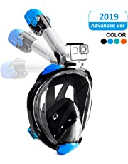 Full Face Snorkeling Mask Easy Breathing Foldable 180° Seaview Snorkel Masks for Adults or Kids Anti-Fog Anti-Leak with Action Camera Mount (2019 Newest Version)