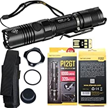 Nitecore P12GT SUPER BUNDLE with LED 1000 Lumen Flashlight, Holster, Lanyard, Pocket Clip, Tactical Ring, Spare O-Ring, Spare Rubber Tail Cap Boot, and Mini USB Light