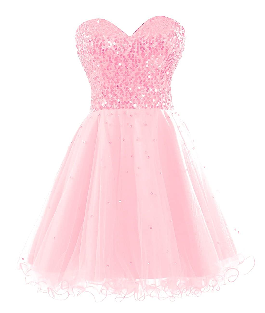 blueshing Pink Bess Bridal Women's Sequined Lace Up Tulle Short Prom Homecoming Dresses