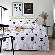 FADFAY Black and White Duvet Cover Set 100% Cotton Black and White Bedding Cat Twin
