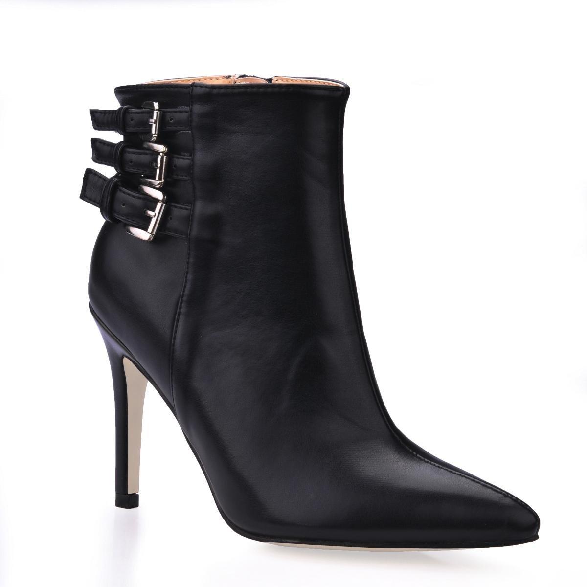 KUKIE Best 4U® Damen Stiefel Premium Premium Premium PU 9 7 cm High Heels Stiletto Gummisohle Spitz Zipper Metall Schnalle Herbst Winter Schuhe Schwarz 76626b