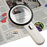 Number-One 10X LED Lighted Magnifier, Handheld Magnifying Glass Illuminated Lens with 12 Lights, 80mm Large Viewing Mirror (White)