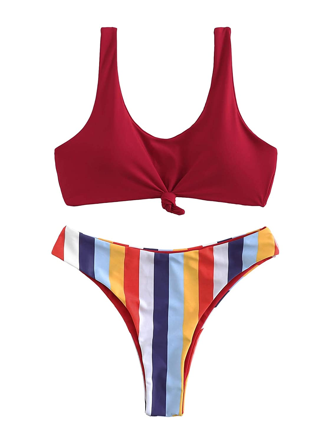 0 stripedred SweatyRocks Women's Two Piece Bathing Suit Padded Knot Plaid Bikini Set