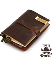 """Classic Genuine Leather Notebook – 5.3"""" × 4"""" Refillable Pages Leather Journal – 100% handmade & Personalized - Vintage Diary - Daily Use & Traveler's Notebook - Retro Journal Bound Notebook (Brown)"""