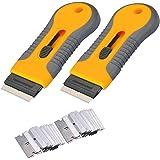 2pcs Razor Blade Scraper Tool Glass Ceramic Metal Scraper - Sticker Glue Paint Adhesive Decal Scraper+30pcs Carbon Steel Blad