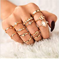 13 Pcs Women Rings Set Knuckle Rings Gold Bohemian Rings for Girls Vintage Gem Crystal Rings Joint Knot Ring Sets for Teens Party Daily Fesvital Jewelry Gift(style3)
