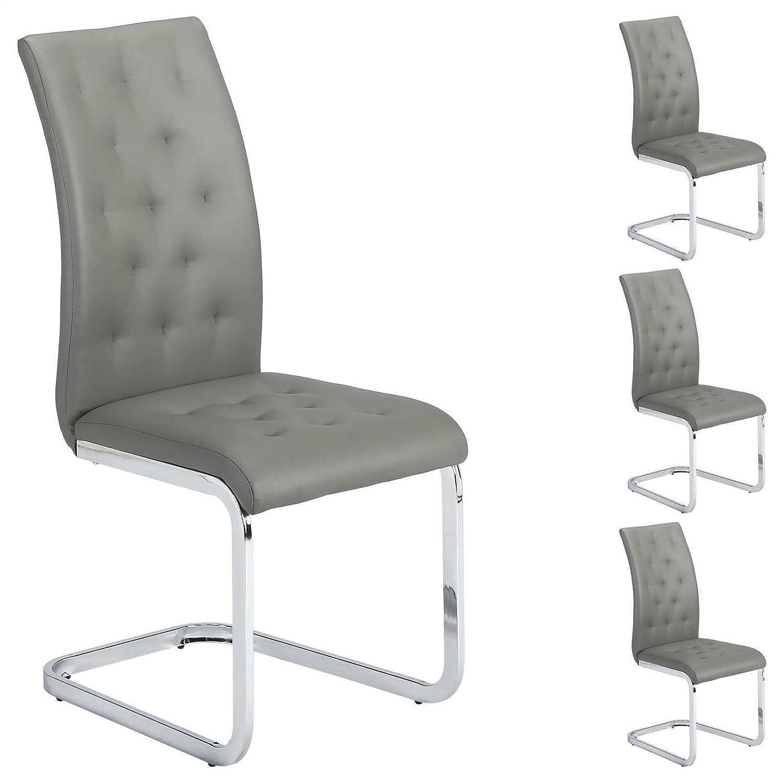 IDIMEX 4er Set Esszimmerstuhl Schwingstuhl Freischwinger Chloe, in grau, grau, grau, Metallgestell hochwertig verchromt bff8ed