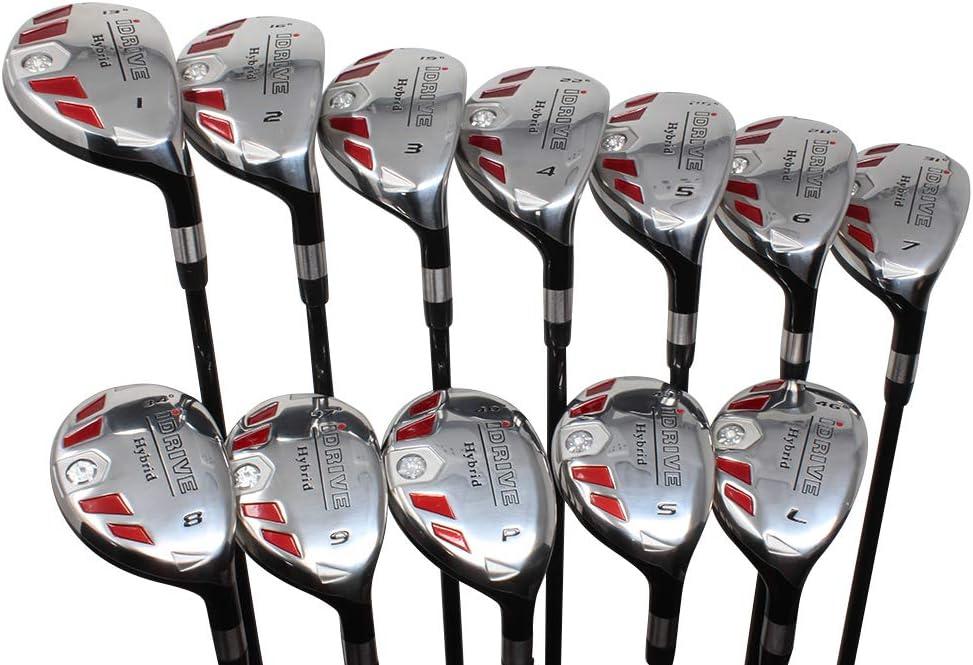 iDrive ハイブリッド ビッグ&トール ゴルフ 全長 +1インチ長め 標準の長さ フルセット #1、2、3、4、5、6、7、8、9、PW、SW、LW レギュラーフレックス 右手用 レスキューユーティリティハイブリッド