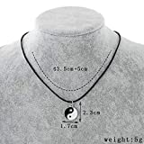 Pusheng Retro Charm Pendant Necklace Tibetan Silver Boho Black Rubber Cord Yin and Yang