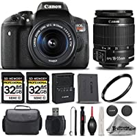 Canon EOS Rebel T6i SLR Camera + Canon EF-S 18-55mm IS STM Lens + 2 Of 32GB Class 10 SDHC Flash Memory Card + 58mm UV Protection Filter- All Original Accessories Included - International Version