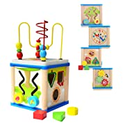 DalosDream Wooden Activity Cube with Bead Maze - 6 in 1 Multipurpose Educational Wood Shape Color Sorter Toy for Baby's & Toddlers, Activity Center for Kids 1 Year+ (6 in 1)