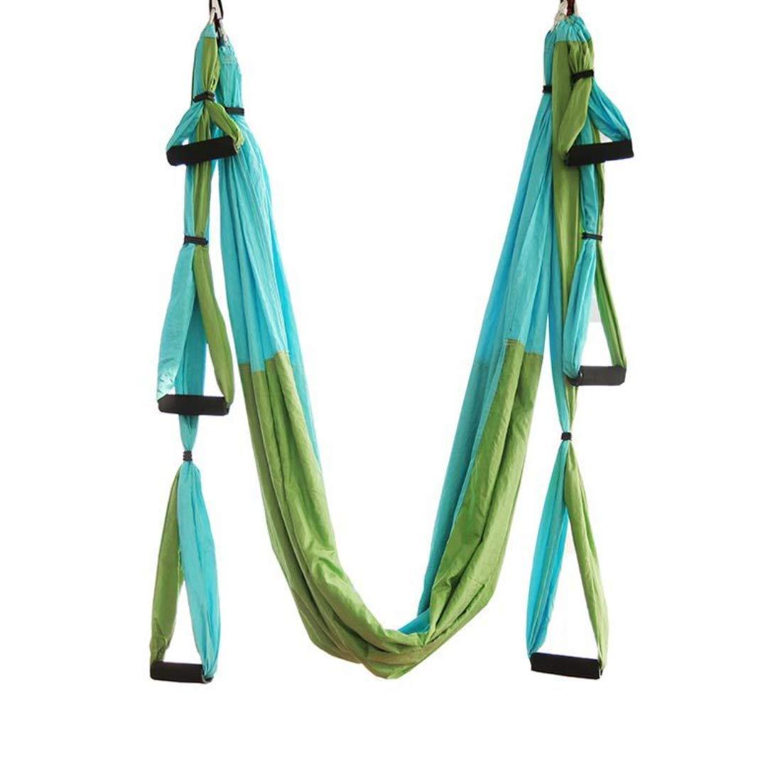 Vert Sunny Ensemble de hamac aérien de hamac de Yoga, hamac de Fitness à 6 poignées sans étirement, avec Extension de la Ceinture et de la Suspension, pour la Force de Base et la décompression vertébrale