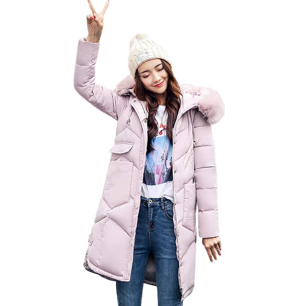Pink DORIC Wholesale Women Outerwear Fur Hooded Coat Long CottonPadded Jackets Pocket Coats Black