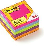 Bloco de Notas Adesivas, Post-it, Cubo Tropical, 76x76mm, 5 Blocos de 90 Folhas, Colorido