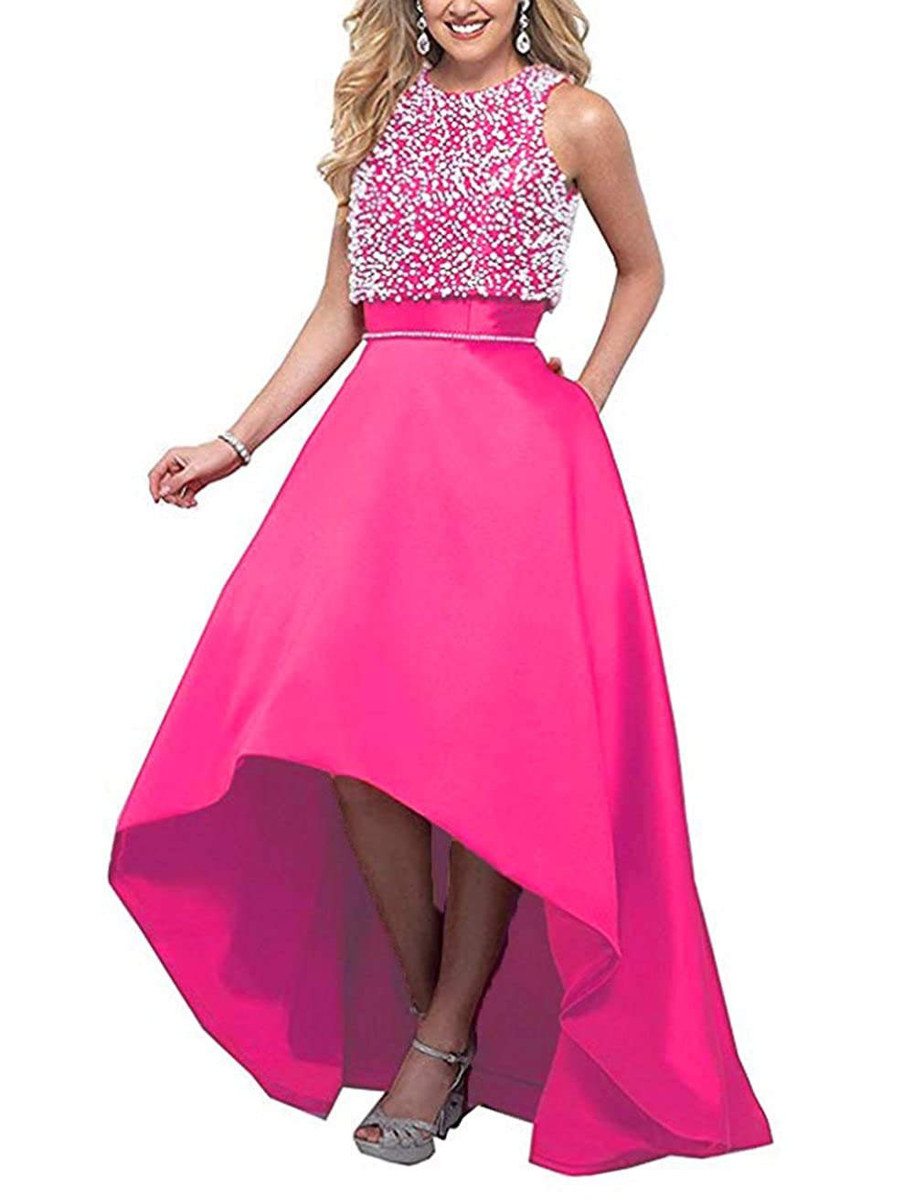 Hot Pink alilith.Z Sexy High Low Beaded Prom Dresses Long Formal Evening Party Gowns for Women 2 Piece with Jacket 2018