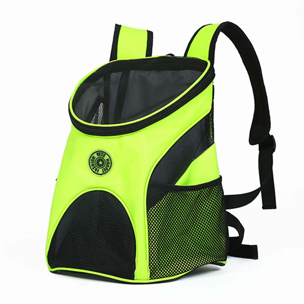 RUIYI Pet Fluorescent Yellow Backpack Dog Cat Front Carrier Pack Puppy 2 Pockets Portable Bags for Hiking Traveling