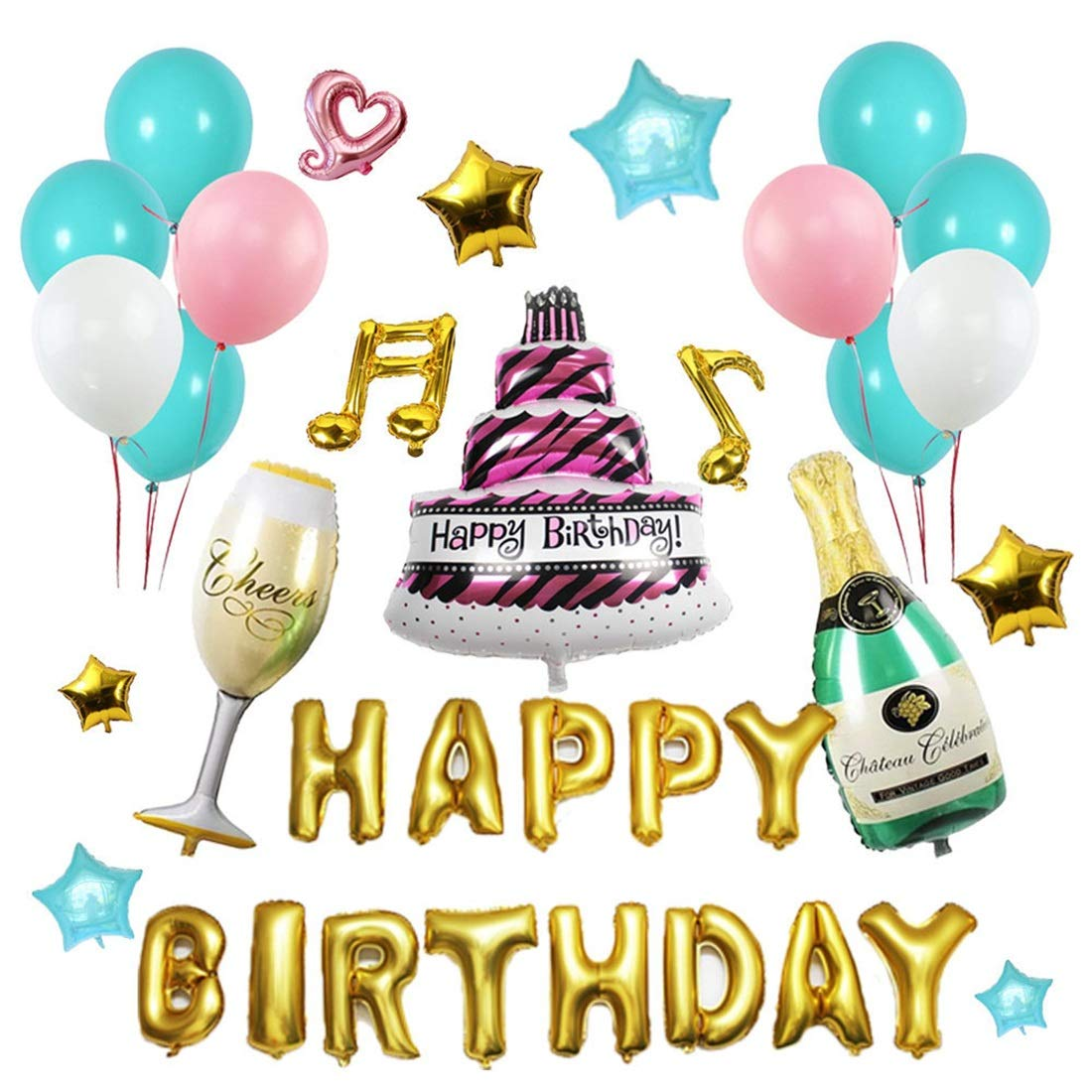 FUBULECY L'amante di Nozze di Compleanno della Lettera del Palloncino dell'alluminio di Buon Compleanno ha fissato la Disposizione di Scena dell'aerostato (Dimensione   One Dimensione)