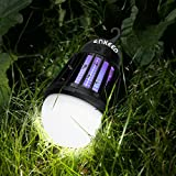 ENKEEO 2-in-1 Camping Lantern Bug Zapper Tent Light - Portable IPX6 Waterproof Mosquito Killer LED Lantern with 2000mAh Rechargeable Battery, Retractable Hook, Removable Lampshade
