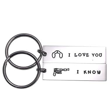 LParkin Couple Gifts for Him and Her Wedding Gifts Star Wars Jewelry I Love You I Know Keychain Girlfriend Boyfriend Husband Wife