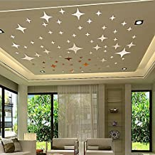 Nessere DIY Removable 3D Mirror Self Adhesive Wall Sticker Room Decor for Modern Home (Star-1-Silver)