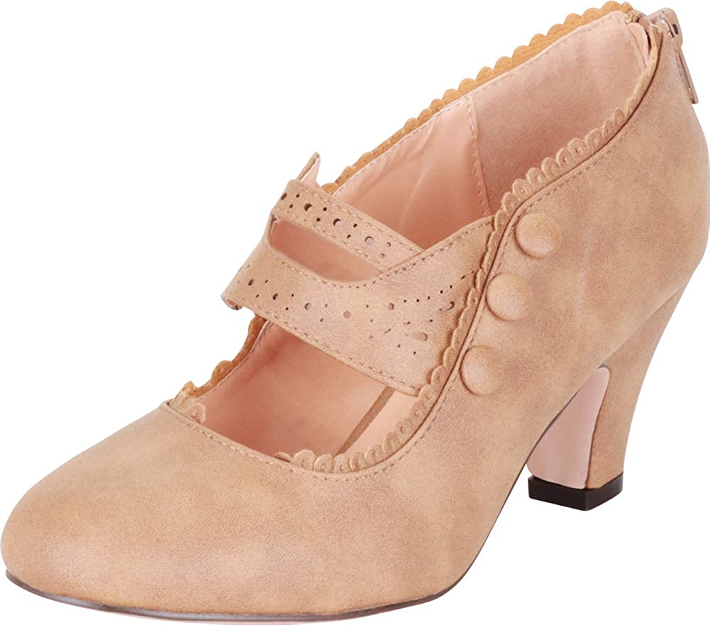 Taupe Pu Cambridge Select Women's Vintage Inspired Pinup Eyelet Cutout Mary Jane Mid Heel Pump