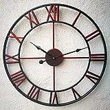 "Oversized Roman Numeral Wall Clock, Eruner European Retro Handmade Industrial Large Decorative 3D Metal Clock Non-ticking European for Kitchen Living Room Cafe Restaurant Decor Red 18.5"""