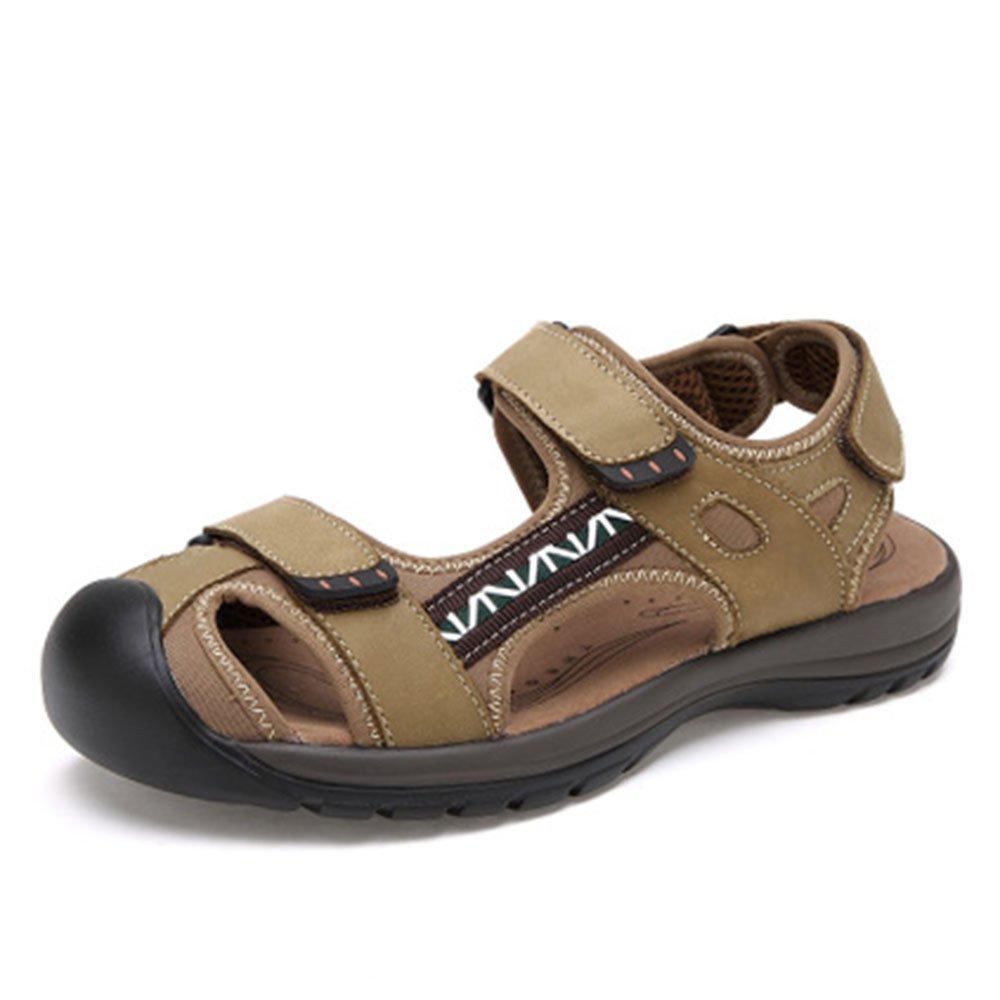 Leather Sandals Sandalias de los Hombres de Verano Zapatos de Playa Zapatos de Cuero Fresco de Ocio de los Hombres al Aire Libre Casual Shoes 42 EU|Light Green