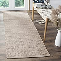 Safavieh Montauk Collection MTK341A Handmade Flatweave Ivory and Grey Cotton Runner (23 x 8)
