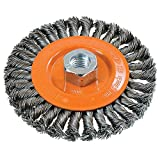 "Walter 13L504 Knot-Twisted Wire Wheel Brush, Threaded Hole, Carbon Steel, 5"" Diameter, 0.020"" Wire Diameter, 5/8""-11 Arbor, 5"" Length, 15500 Maximum RPM"